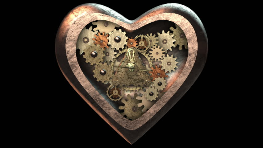 3D STEAMPUNK HEART with CLOCKWORK inside (front). Ideal for Science fiction movies, TV shows intro, news, commercials, retro, steam punk related projects etc. Includes ALPHA MATTE