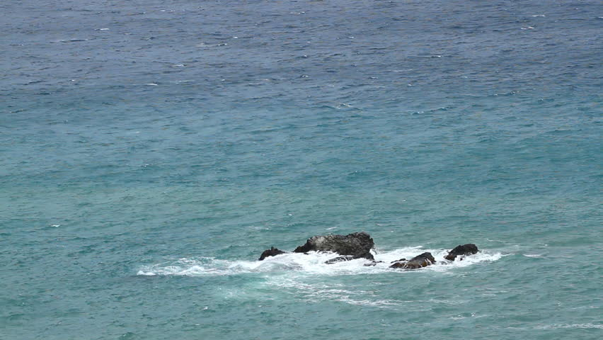Rock in a sea and surf - HD stock video clip
