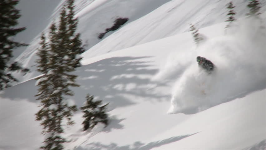Western America, 2010. Skier ski's down the mountain in fast speed. Snow covered trees in the background.