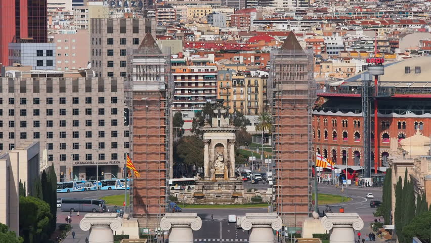Placa Espanya  Spanish Square In Barcelona, Catalonia