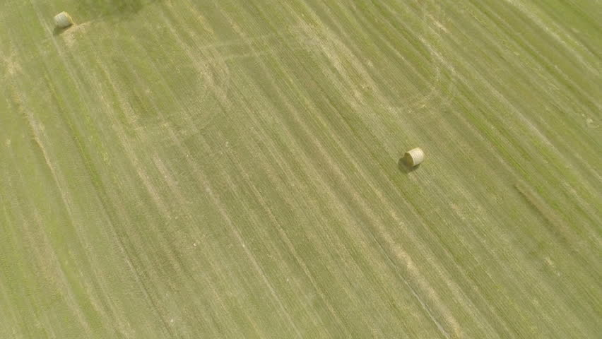 Aerial view of harvested barley field - HD stock video clip