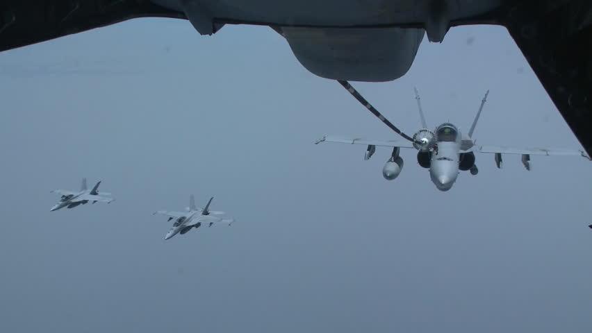 CIRCA 2010s - A U.S. Navy F-18 refuels in midair.