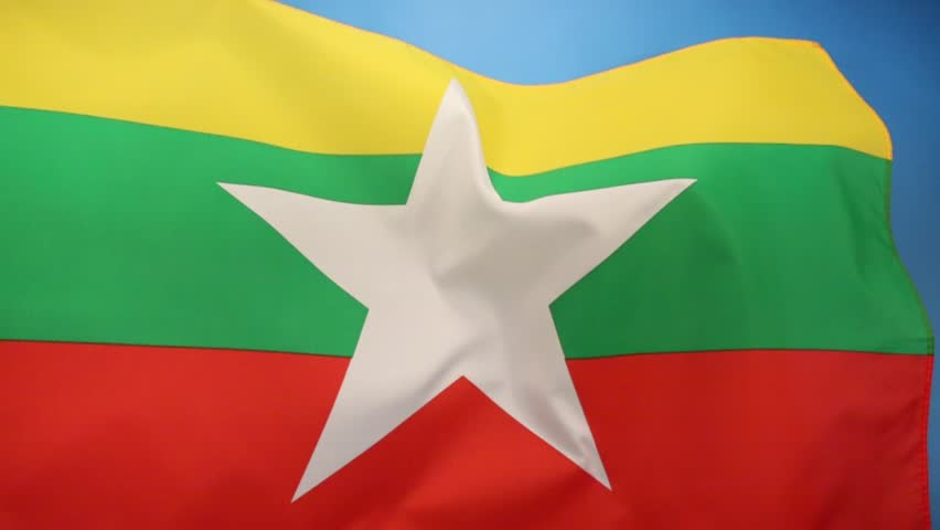 The Republic of the Union of Myanmar, adopted a new state flag on 21 October 2010 to replace the former flag in use since 1974. - HD stock footage clip
