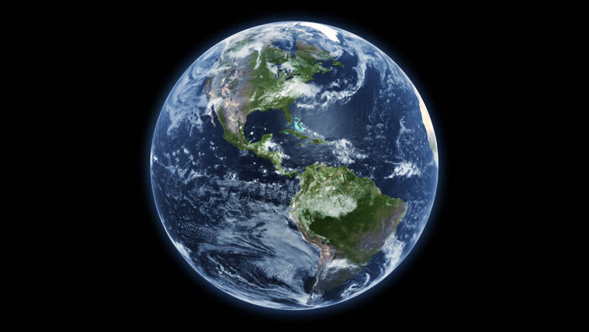 Spinning planet Earth - isolated black bg