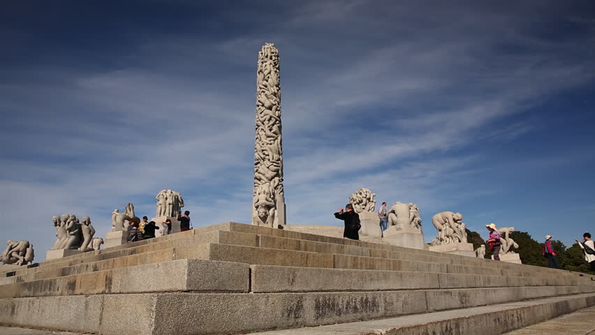 VIEW OF THE MONOLITH VIGELAND PARK OSLO NORWAY - 15 SEPTEMBER 2014: Low angle slider movement of the Monolith