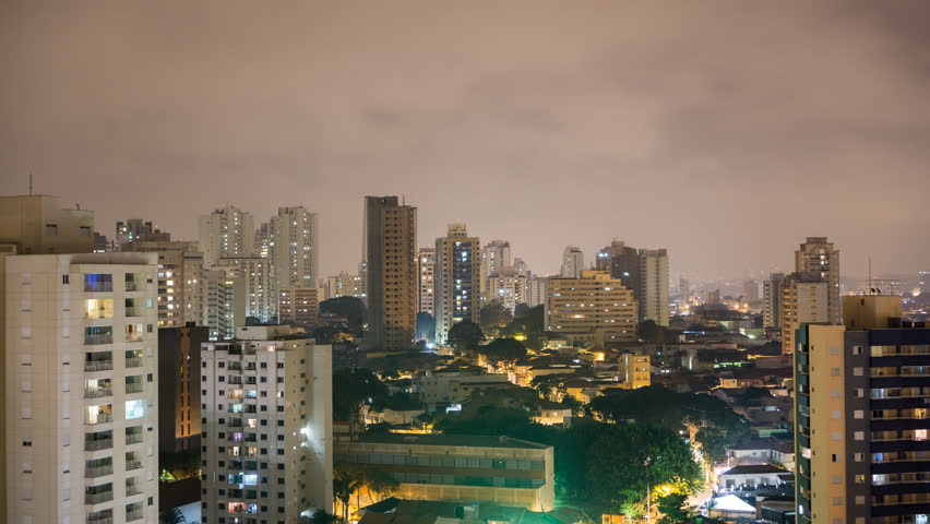 Night Time Lapse of Sao Paulo skyline, Brazil, largest city in South America