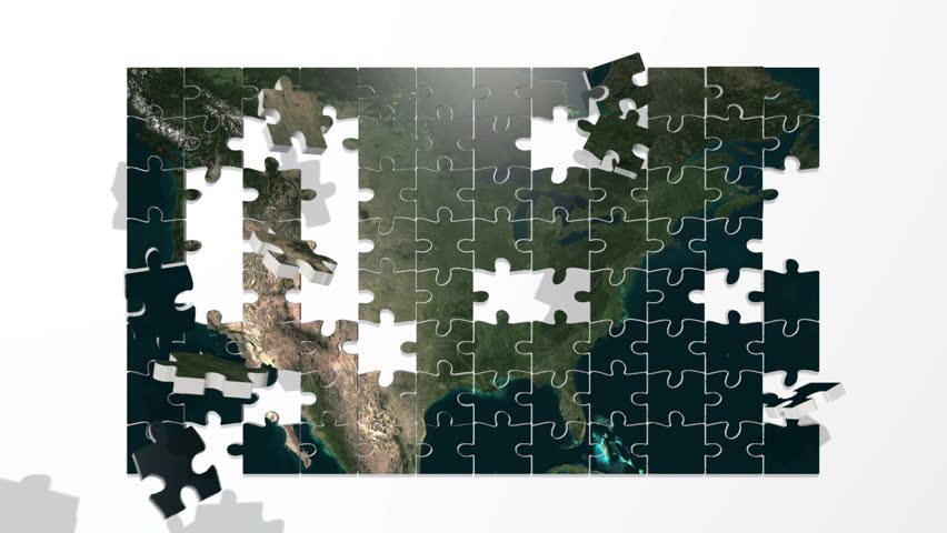 USA puzzle assembles