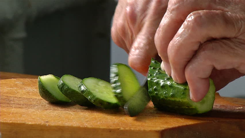 Cutting Knife Cucumber Stock Footage Video 7597051 ...