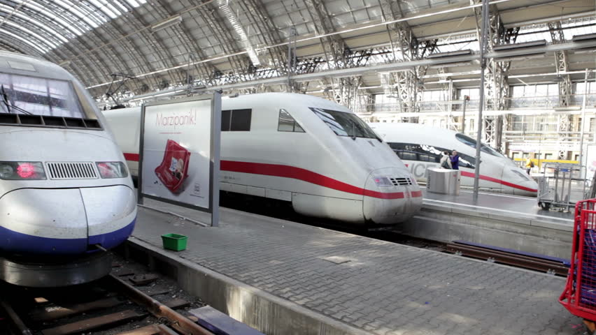 Frankfurt, Germany - October 18, 2014: ICE and TGV, German and French highspeed trains standing next to each other on a railway station platform at Frankfurt station during strike of train drivers.