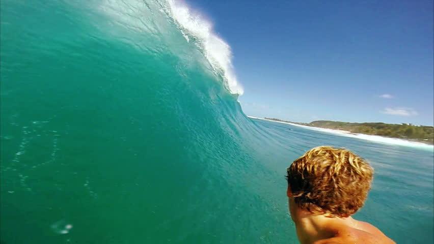 POV Surfer In Barrel, Extreme Sport Man Surfing