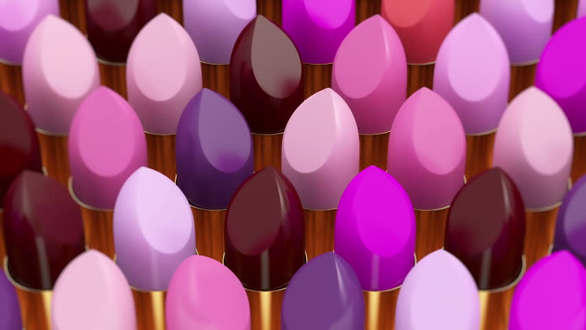Seamless Looping Abstract Animation of Different lipsticks. Beauty and Fashion Concept