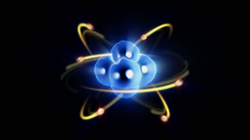 Zoom in / out of atom with electron orbiting nucleus - blue 4K Ultra HD - 4K stock video clip