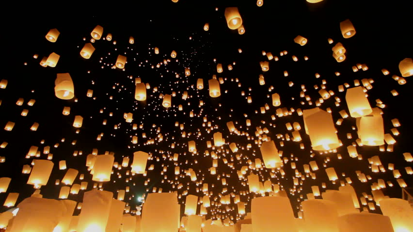 Floating lanterns in Yee Peng Festival, Loy Krathong celebration in Chiangmai, Thailand. Uprisen wide angle view. - HD stock footage clip