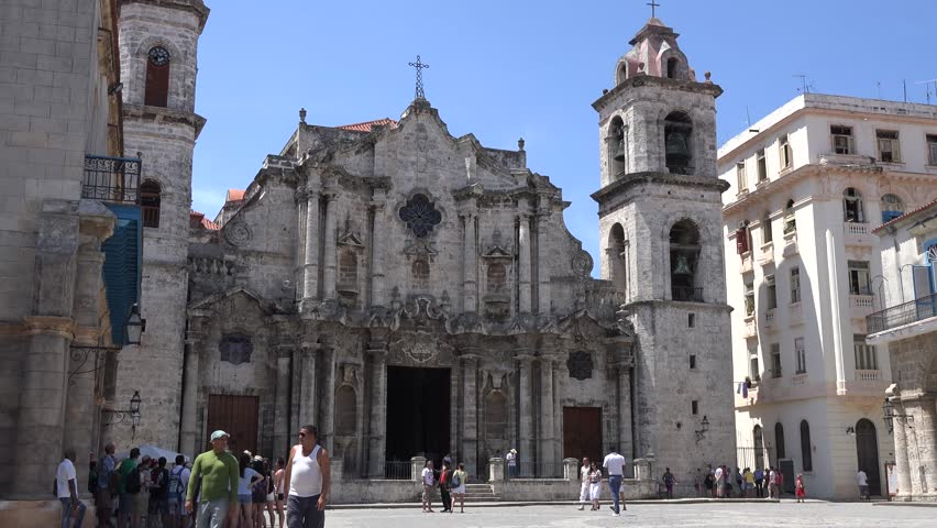 HABANA,CUBA-JULY 4, 2014: Catholic Cathedral in Old Havana. Old Havana is a UNESCO World Heritage Site and contains the core of the original city of Havana. - 4K stock video clip