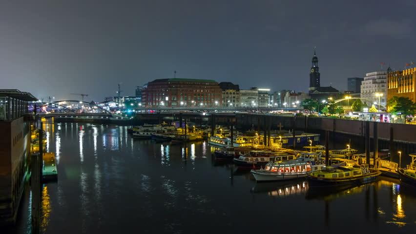 Binnenhafen with boats in Hamburg. Timelapse view.