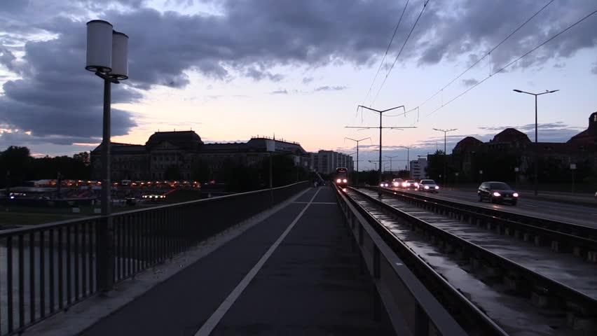A tram that runs during evening in Dresden