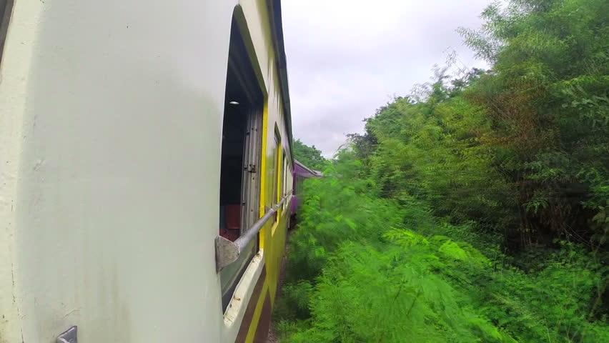 Passenger train in Thailand. Window view. Forest.