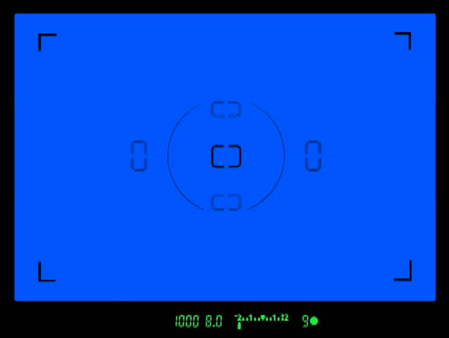 Looking through a digital SLR camera viewfinder standard definition NTSC. Contains a mock viewfinder display with focus confirmation, aperture, shutter speed and exposure. Must use chromakey software.