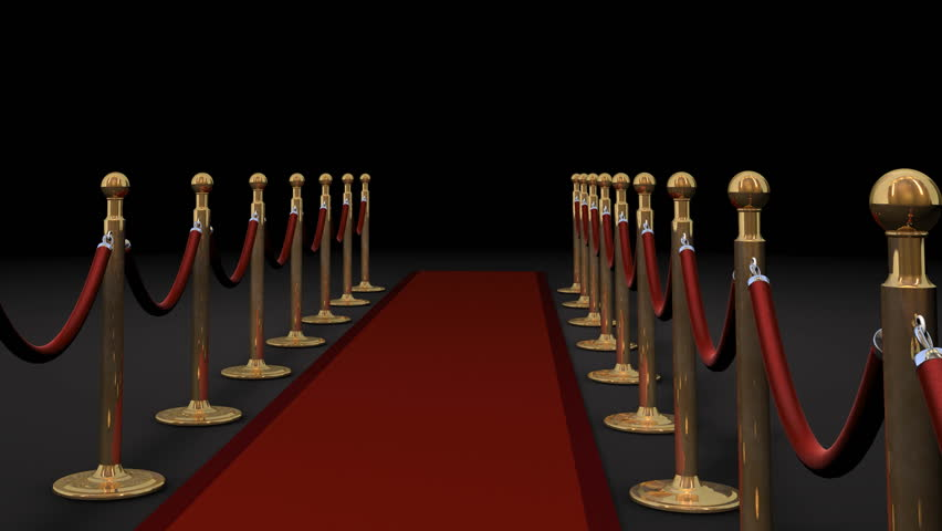 1080p HD Video of camera panning forward with camera flashes on red carpet and dividers. - HD stock footage clip