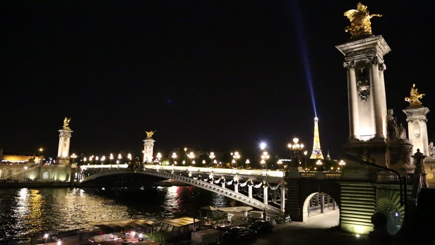 PARIS, FRANCE - AUGUST 19: Alexandre III bridge in Paris at night in summer on August 19, 2014