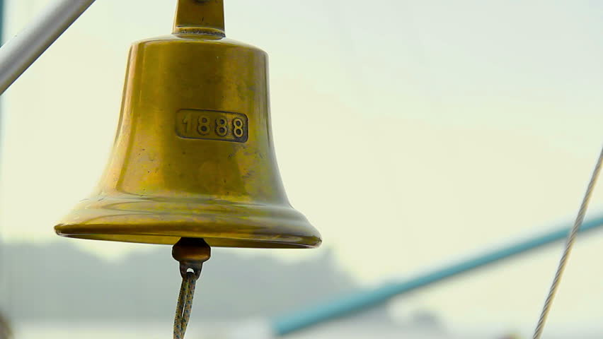 Vintage beautiful ship bell with rope, boat gong, nautical decor
