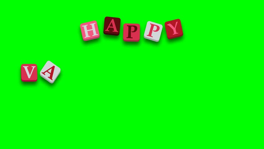 Valentine's Day greeting card phrase, saying. Happy Valentine's Day with colorful blocks on green screen - 4K stock footage clip