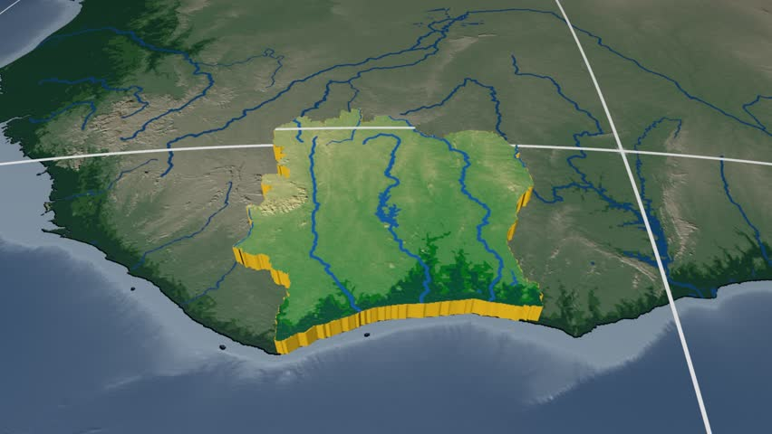 Côte d'Ivoire extruded on the world map with graticule. Rivers and lakes shapes added. Colored elevation and bathymetry data used. Elements of this image furnished by NASA.