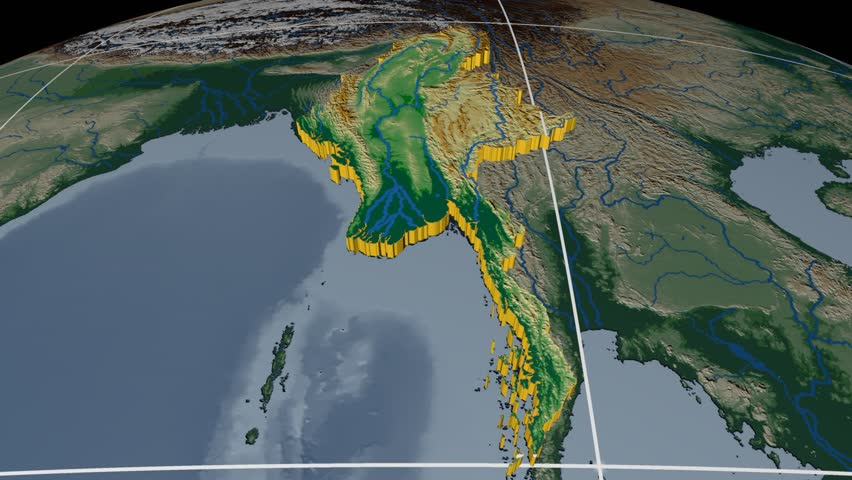 Myanmar extruded on the world map with graticule. Rivers and lakes shapes added. Colored elevation and bathymetry data used. Elements of this image furnished by NASA.