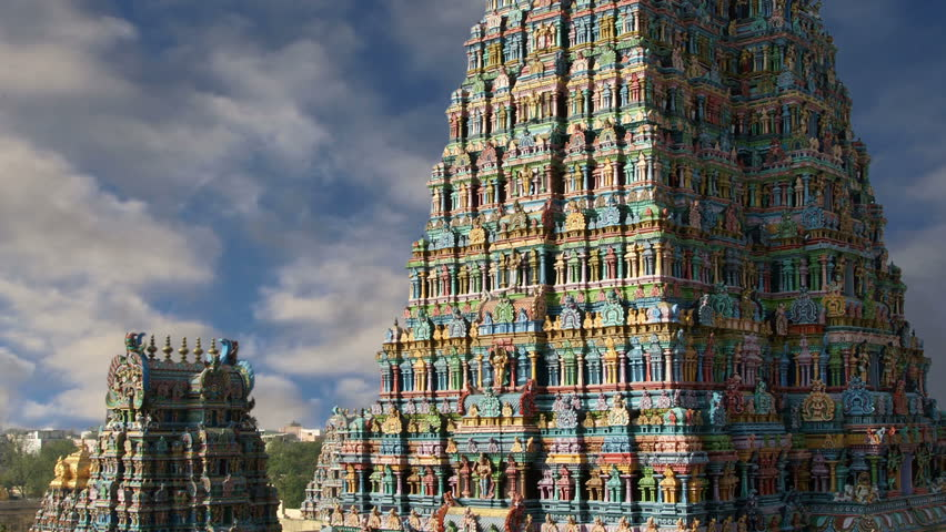 Meenakshi hindu temple in Madurai, Tamil Nadu, South India - HD stock footage clip