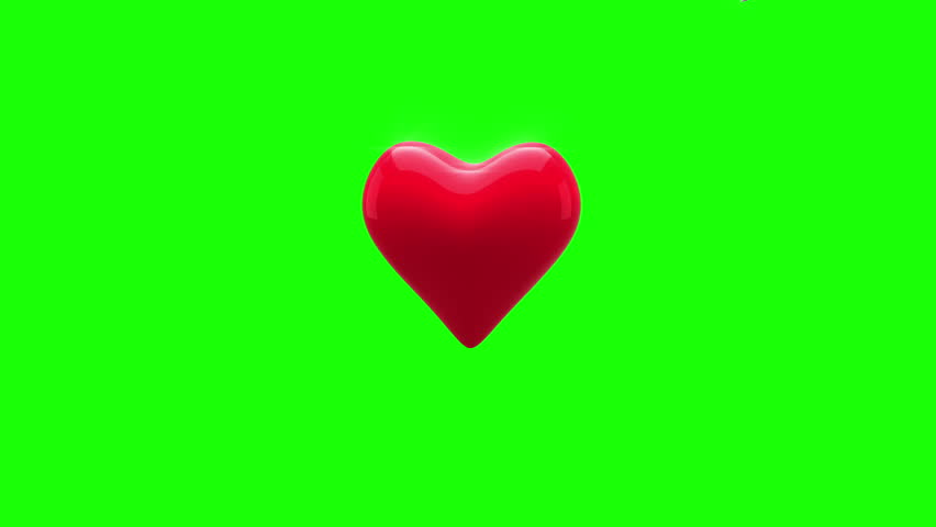 Digital animation of red heart turning and exploding on green background - HD stock video clip