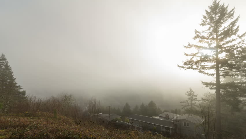 Time Lapse Movie of Fast Moving Clouds and Low Fog over City of Portland in Oregon One Early Morning 1920x1080 - HD stock footage clip