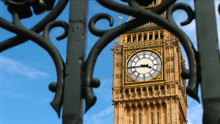 Mid shot of Big Ben through a gate. - HD stock video clip