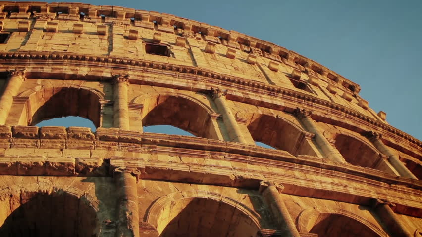 The Colosseum At The Sunset In Rome Stock Footage Video