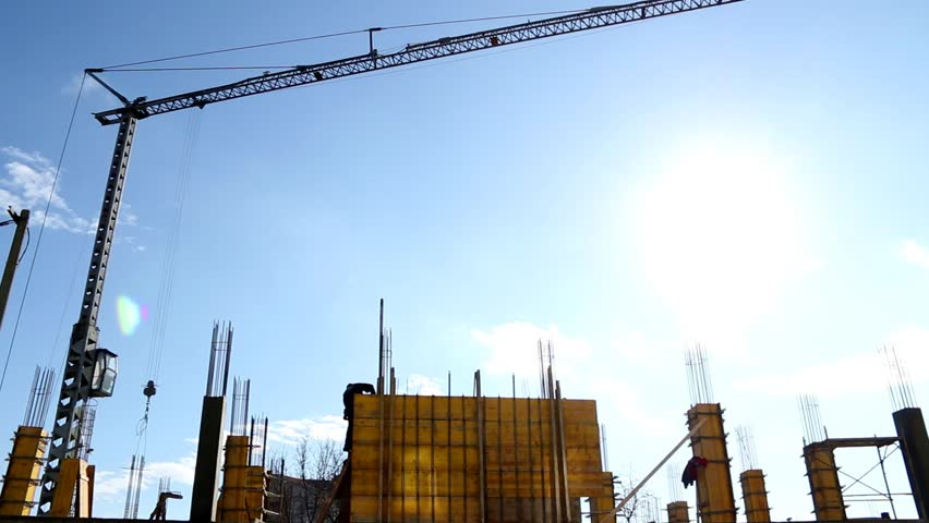 Building Site On Blue Sky Background Stock Footage Video