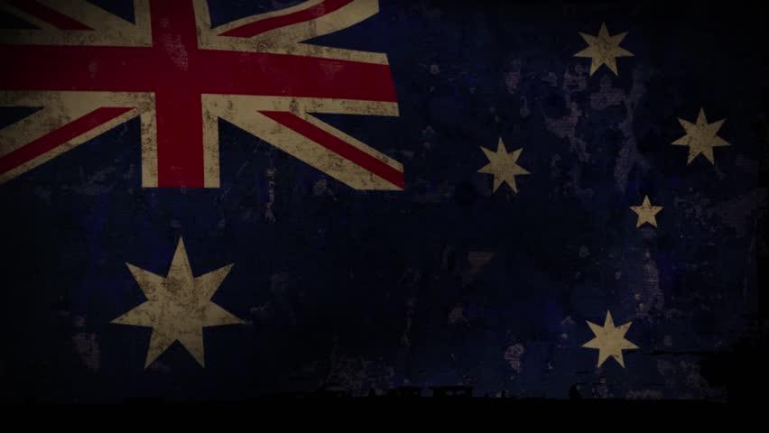 Australia Flag Waving, old, grunge look background