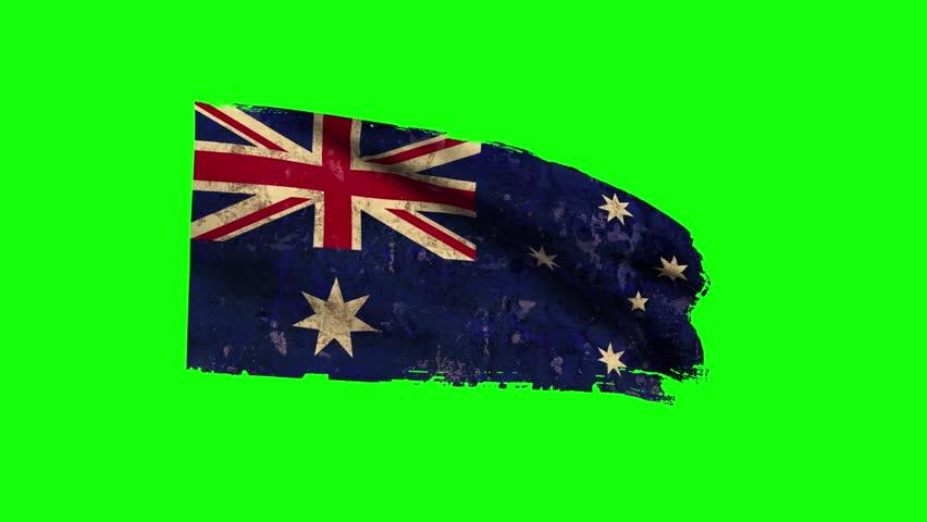 Australia Flag Waving, old, grunge look green screen