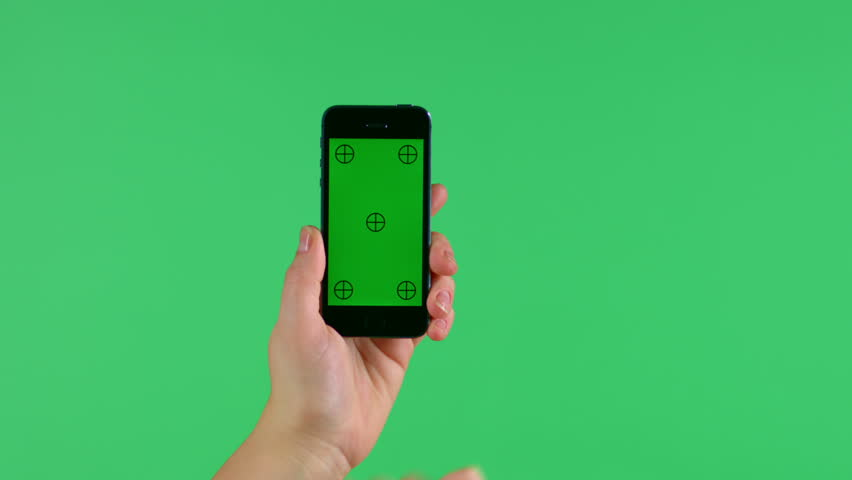 Smartphone touchscreen tap and swipe hand gestures on green screen