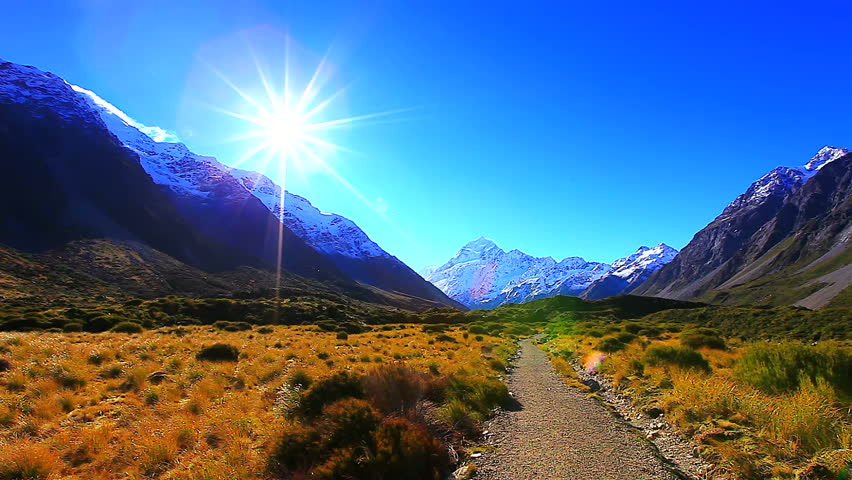 New Zealand Time Image: Beautiful Scenery In Morning Time At Mt Cook Valleys