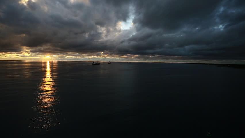 Caribbean sunset before storm. 1080p HD.