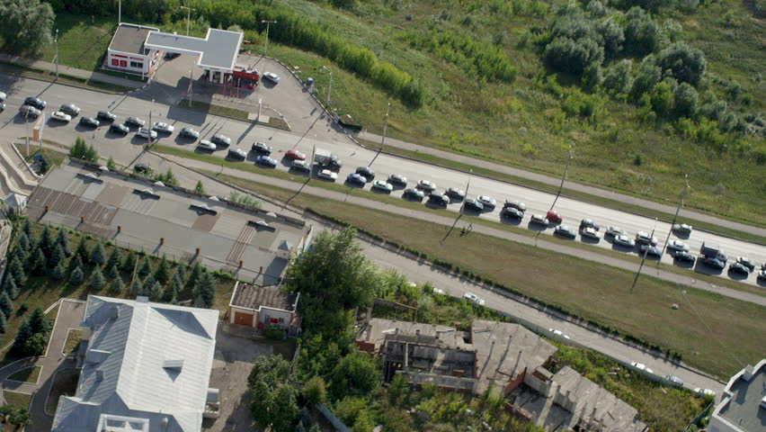Aerial shot highway with traffic jam