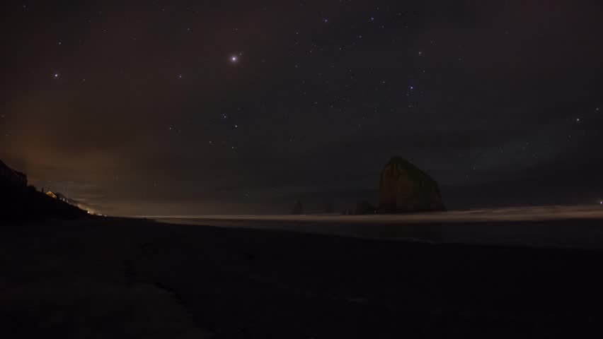 Time lapse of Starry Night Sky at Cannon Beach, Oregon. United States