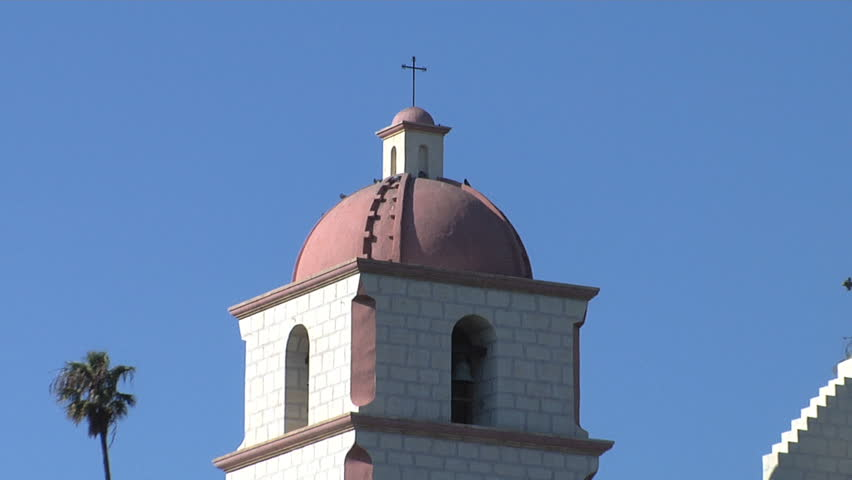 Santa Barbara Mission California. tower pull - HD stock footage clip