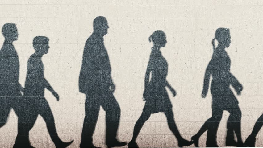 Shadows of walking people animation. Background. 1080p
