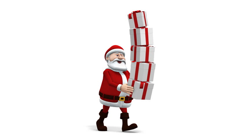 cartoon santa claus balancing presents - walk cycle - loopable 3d animation  - HD stock footage clip