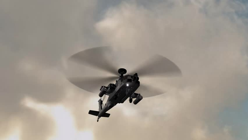 armed Helicopter AH-64 Apache in fly