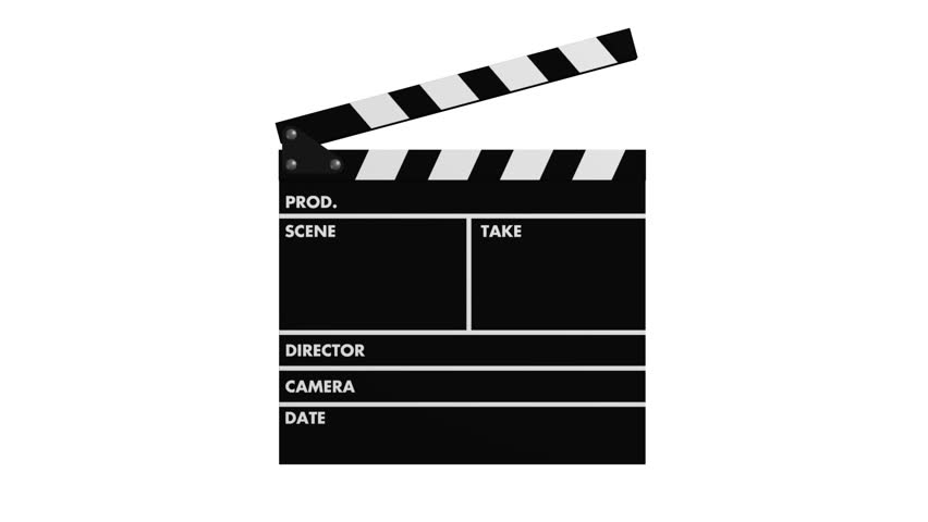 Movie production clapperboard isolated on white background