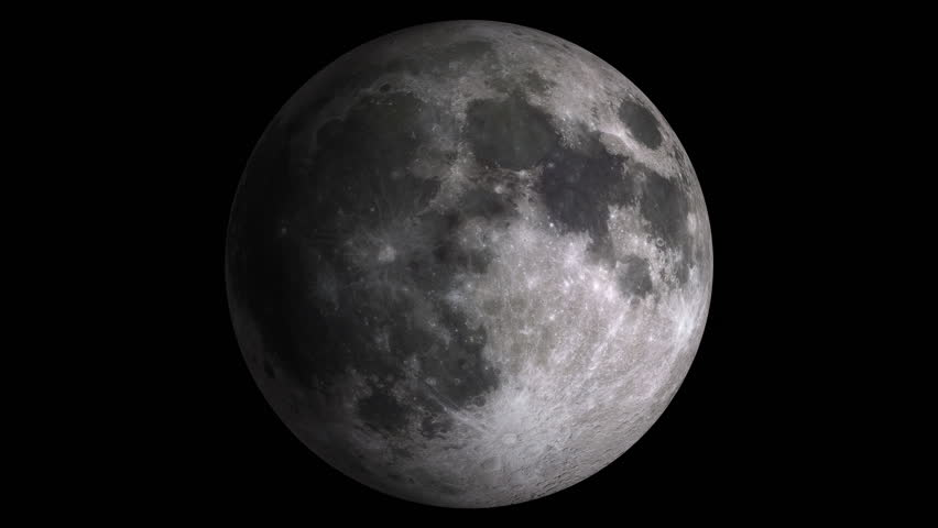 [w/alpha] Moon phases with visible shaded areas. Realistic libration motion. Isolated on black background. Includes alpha-matte. Source: CGI rendering. Clip ID: ax1078c