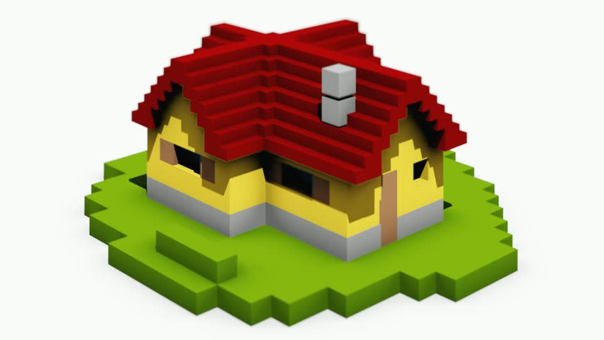Animated construction (building) of cartoon block house. Falling blocks.  - HD stock video clip