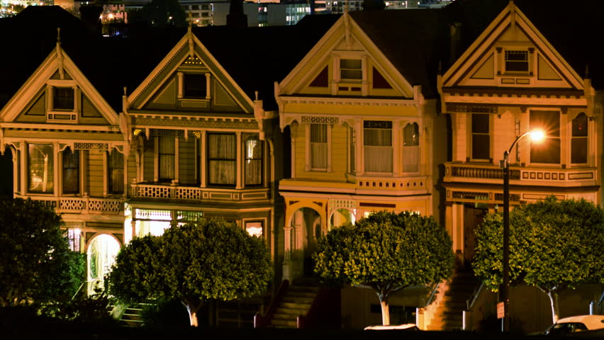 Time lapse footage of iconic postcard row traditional for Victorian traditional homes