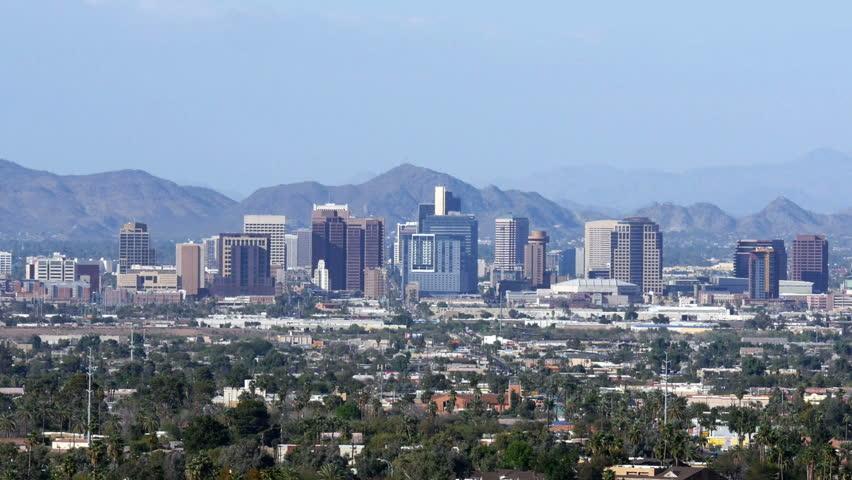Phoenix skyline in Arizona. 4K UHD slow zoom in. - HD stock footage clip